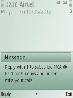 Airtel missed call service for free 21