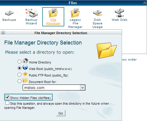cpanel-show-hidden-files