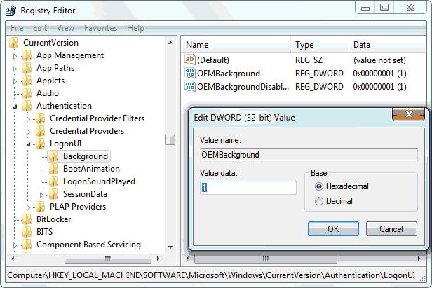 Change Windows 7 Logon Screen Using Registry Editor