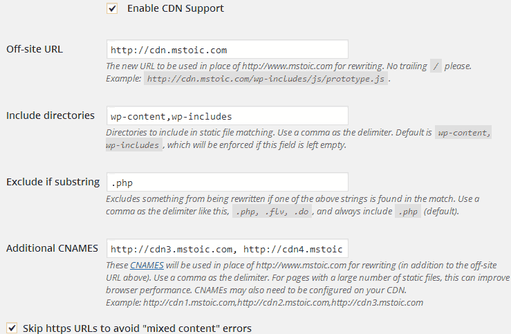 Setting the CDN on WP Super Cache