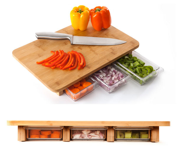 A cutting board with storage. Buy here