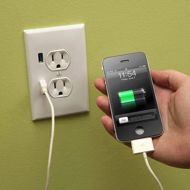 Wall socket with USB ports. Buy here