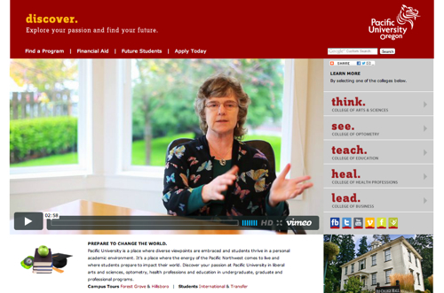 Pacific University Admissions Site