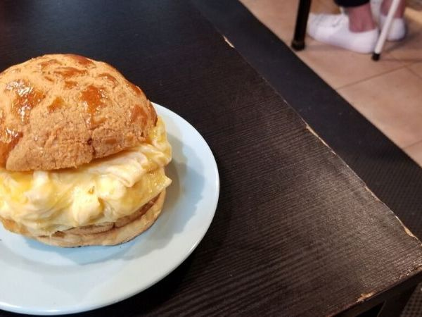 The pineapple bun sandwich is a big part of the Hong Kong food culture. It is a must eat food in Hong Kong!