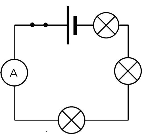 drawing of a parallel circuit with three light bulbs