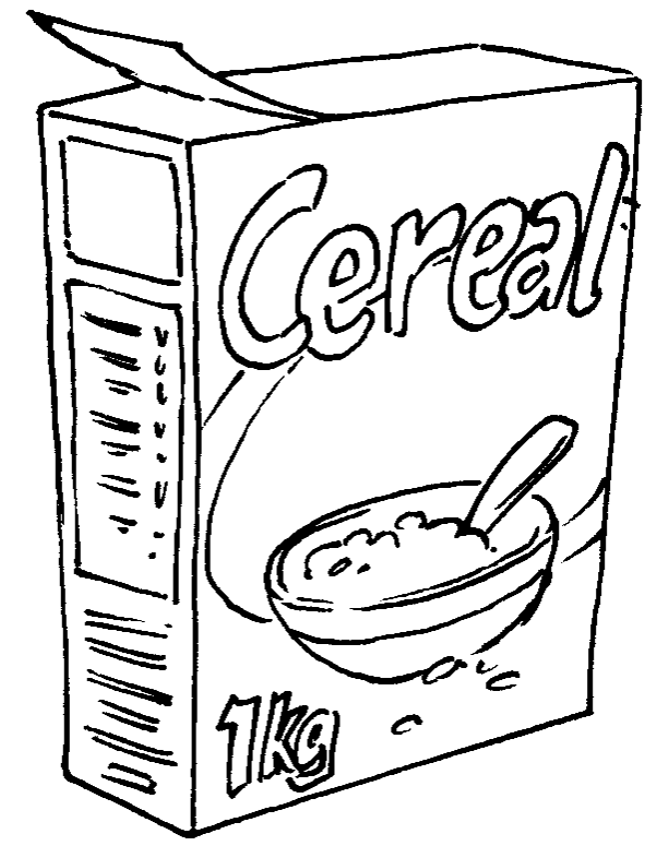 Sketch Of A Bowl Of Cereal Coloring Pages