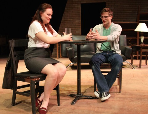 Photo: Theresa (Caitlyn Kumpula) begins to warm up to Tony (Luke Steinborn) on a seemingly harmless blind date. (Courtesy of the MNSU Department of Theatre and Dance)