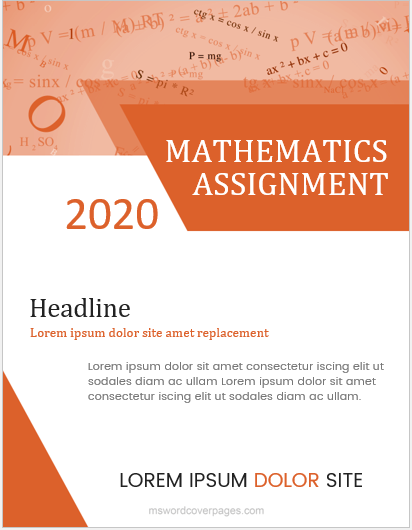 5 Best Editable Mathematics Assignment Cover Pages Ms Word Cover Page Templates