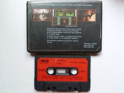 Aliens- Trasera de la carátula y cinta de casete