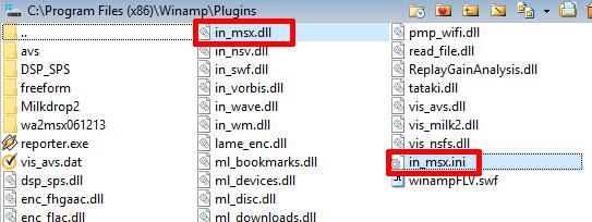 Archivos de MSXplug en el directorio de plugins de Winamp