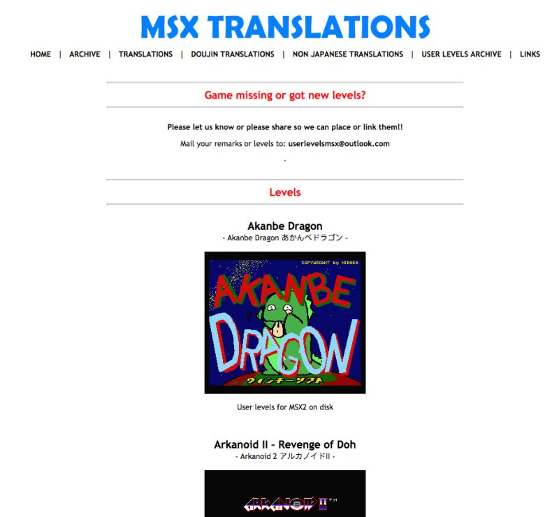 "Sección ""Levels"" de MSX Translations"