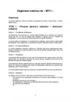 Le règlement intérieur des adhérents