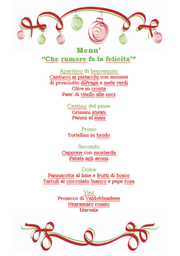 Il menu di Paola