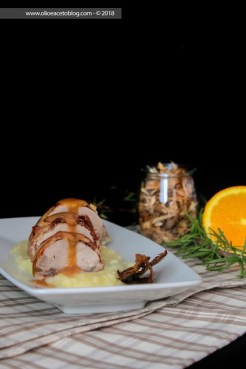 17. filetto di maialino affumicato con purè di patate e chips di buccia di patate affumicate di Fabiola