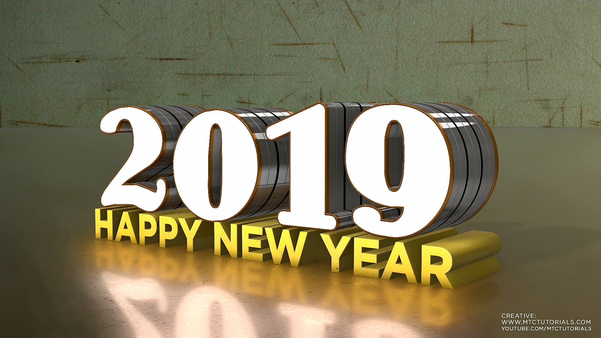 Happy new year 3d text new style