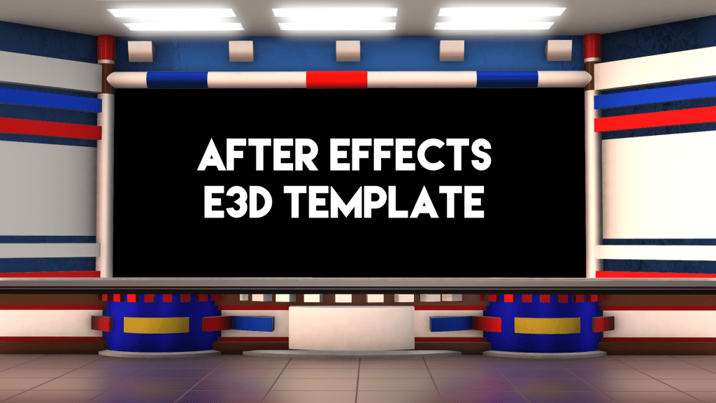 Download Free virtual studio news desk Adobe After Effects Element 3D Template