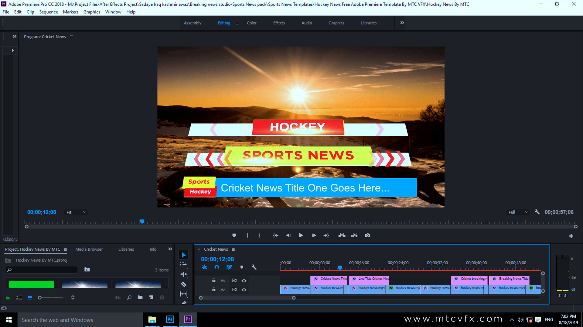 Hockey News Lower Thirds Free Adobe Premiere Template By MTC Tutorials