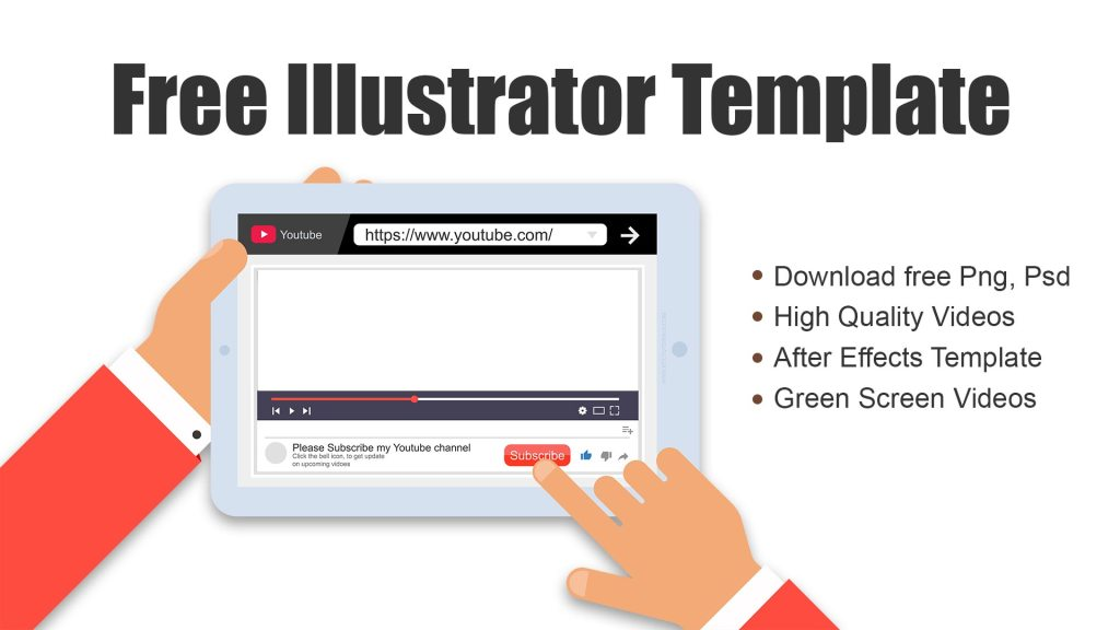 Download free adobe illustrator tab and mobile design template youtube subscribe buttons and and hands