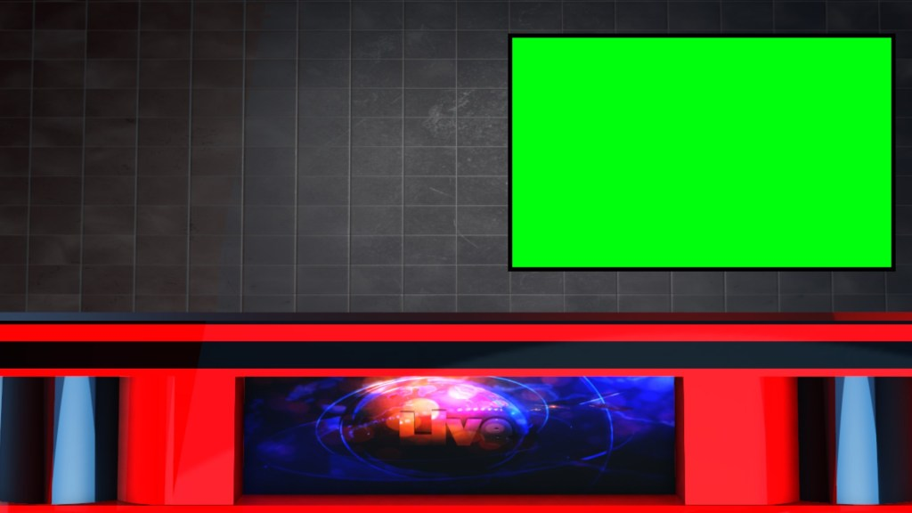 News channel table with green screen TV