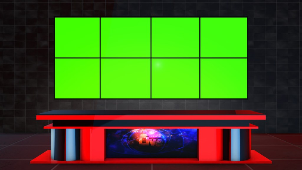 Royalty free sets Green screen virtual studio news desk