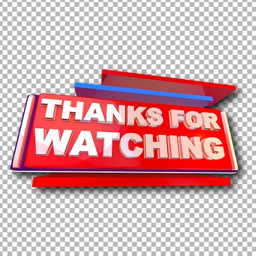 Thanks for watching png 3D text