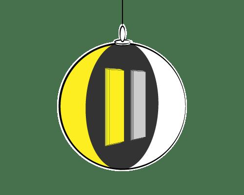 Croquis projet bic avec boule bicolore et découpe monté