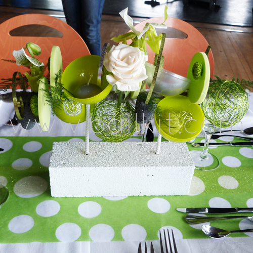 Création bulles vertes pomme et table de mariage
