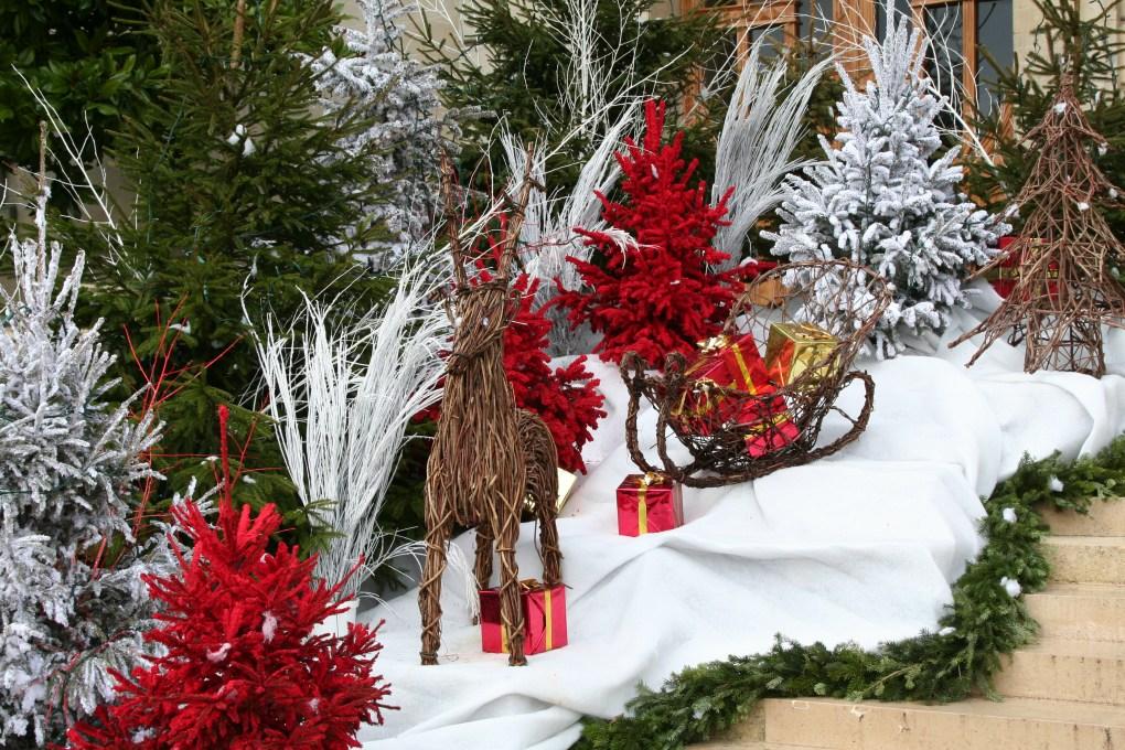 Mise en scène sapins rouges et blancs, tapis neige et guirlandes