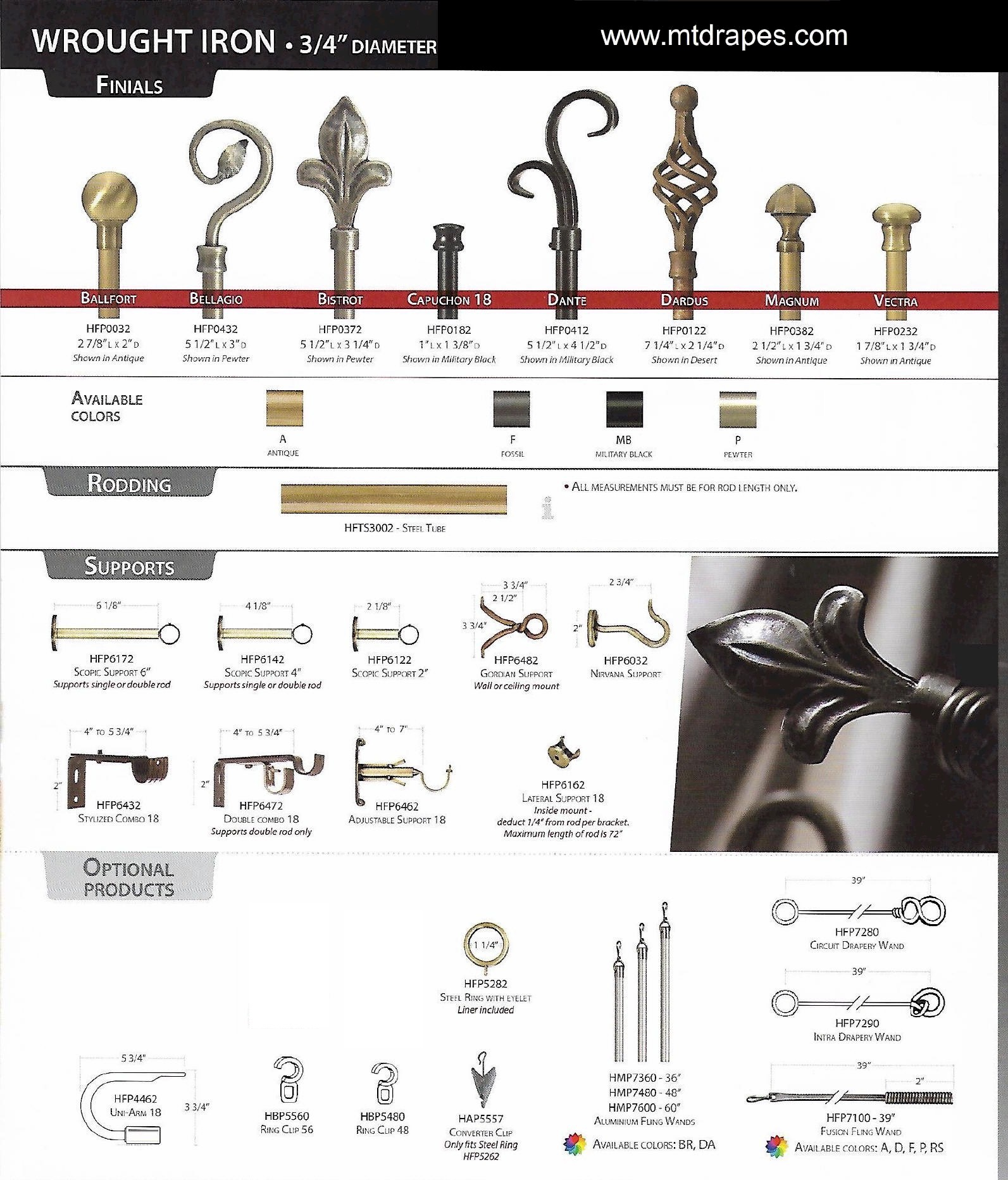 Drapery Rods Forged Wrought Iron Finials New Low Pricing