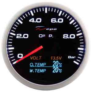 Manometro 4in1 - Press. Olio + Voltmetro + Temp. Olio + Temp. Acqua - Depo Racing - 60mm