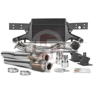 Comp. Package EVO3 TTRS 8S with catalyst pipes Audi Audi TTRS Audi TTRS 8S 700001064 wagner wagnertuning mondotuning mtelaborazioni The competition package for the Audi TTRS 8S consists of the Intercooler Upgrade Kit EVO3 and the Downpipe Kit.Intercooler Upgrade Kit 200001136The high performance intercooler has the following core dimension (515mm x 367mm x 95mm = 16.500cm¶ü) and thus offers a 84% larger cooling surface and 101% more charge air volume compared to the original intercooler. Our engineers have increased the intercooler core size and efficiency