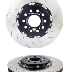coppia dischi freni freno scomponibili compositi flottanti baffati dritti campana ergal ebc brakes ford focus rs mk3