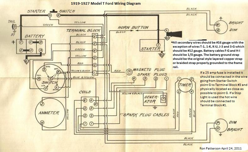 Model T Ford Forum Headlamp Ignition Switch Wiring Diagram 1920