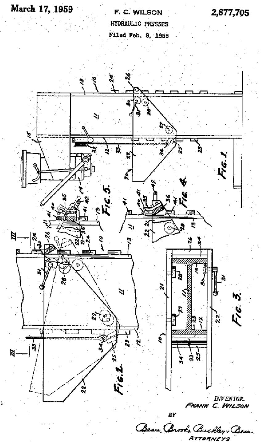 hight resolution of can t help with your decision but here is a 1959 patent drawing assigned to k r wilson for a hydraulic press the table tilts to move it up or down with