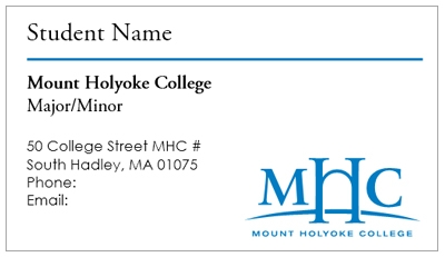 Business Card Template Mount Holyoke College