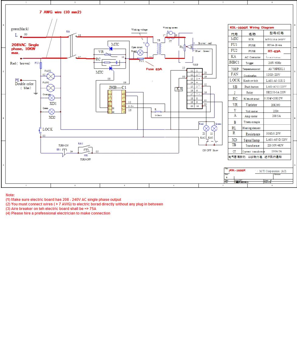 medium resolution of electric diagram for ksl 1600x furnace and all mti furnaces with power 10kw