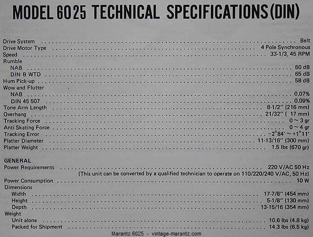 Marantz 6025 Specifications