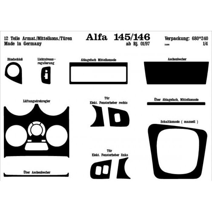 Décoration de tableau de bord, portes Alfa 145, 146