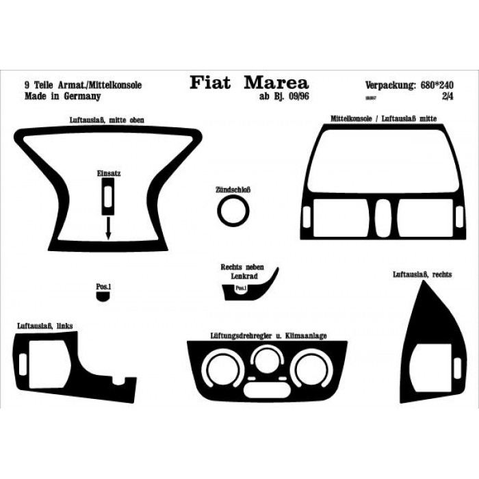 Décoration de tableau de bord Fiat Marea