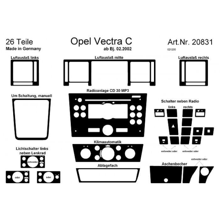 Décoration de tableau de bord Opel Vectra C