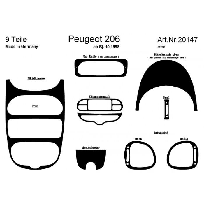 Décoration de tableau de bord Peugeot 206