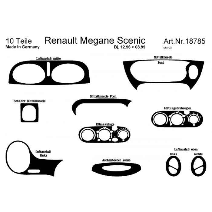 Décoration de tableau de bord Renault Megane Scenic