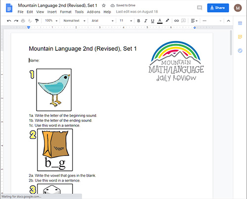 2nd Grade Language Arts Online Spiral Review for