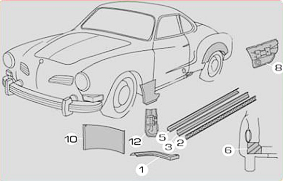 Karmann Ghia Sheet Metal: Heater Channels and Rocker Panels