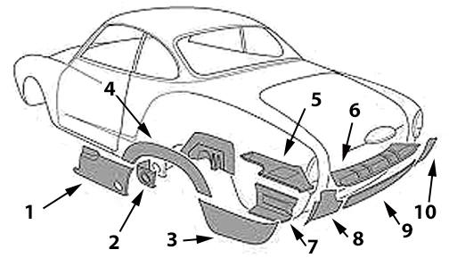 Karmann Ghia Sheet Metal: Rear Fender, Rear Deck, and