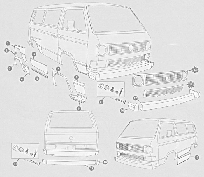 Volkswagen Bus, Vanagon, Eurovan 1980-1990 Sheet Metal