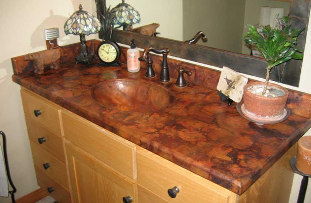 zinc top kitchen island cabinet door knobs custom copper vanity