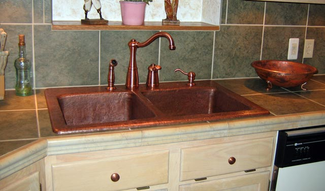 copper sink kitchen black pull down faucet mountain rustic double basin