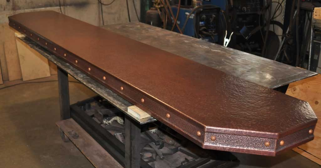 copper kitchen sinks ikea oak cabinets bar top inlay rivets - mountain creations