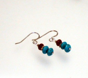 Turquoise, & Red Jade with Sterling Silver